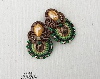 soutache earrings, bronze, green earrings, yellow stud earrings, christmas gift, orecchini, pendientes, boucles d'oreilles,