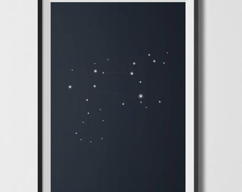 Leo Constellation - Digital Print Illustration Printable - Home decor Gift Original