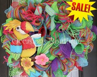 Summer Wreath, Front door wreath, Large Wreath, Wreath for Door, Whimsical Wreath, Deco Mesh Wreath, Ready to Ship
