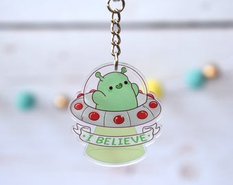 "I Believe Alien 2"" Acrylic Charm Keychain ( Kawaii spaceship ufo )"