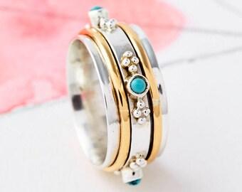 Spinner Rings,Fidget Rings, Worry Rings,Thumb Rings,Meditation Rings, Spinning Rings, Turquoise Boho Silver Rings,Spin Rings JR150