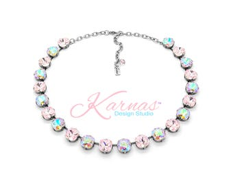 SWEET TREAT 12MM ALL Cushion Cut Statement Necklace Made With Swarovski Crystal *Pick Your Finish *Karnas Design Studio *Free Shipping*