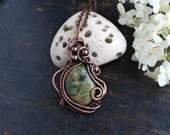 Ocean jasper necklace Bohemian stone pendant Wire wrapped Jasper pendant Green  Jasper pendant Fantasy handcrafted jewelry  Earthy jewelry