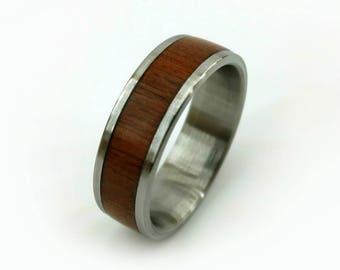 Teak Titanium  Ring, Teak Wood Ring, Wood Ring, Titanium Ring, Unique Wood Ring, Teak Band, Exotic Wood Ring, Brazilian Teak Ring