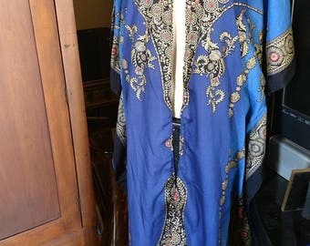 Open front Cover Up Robe -- Polyester Royal Blue black & metallic gold tie dye print Caftan Long Tunic Belly Dance Fits One Size