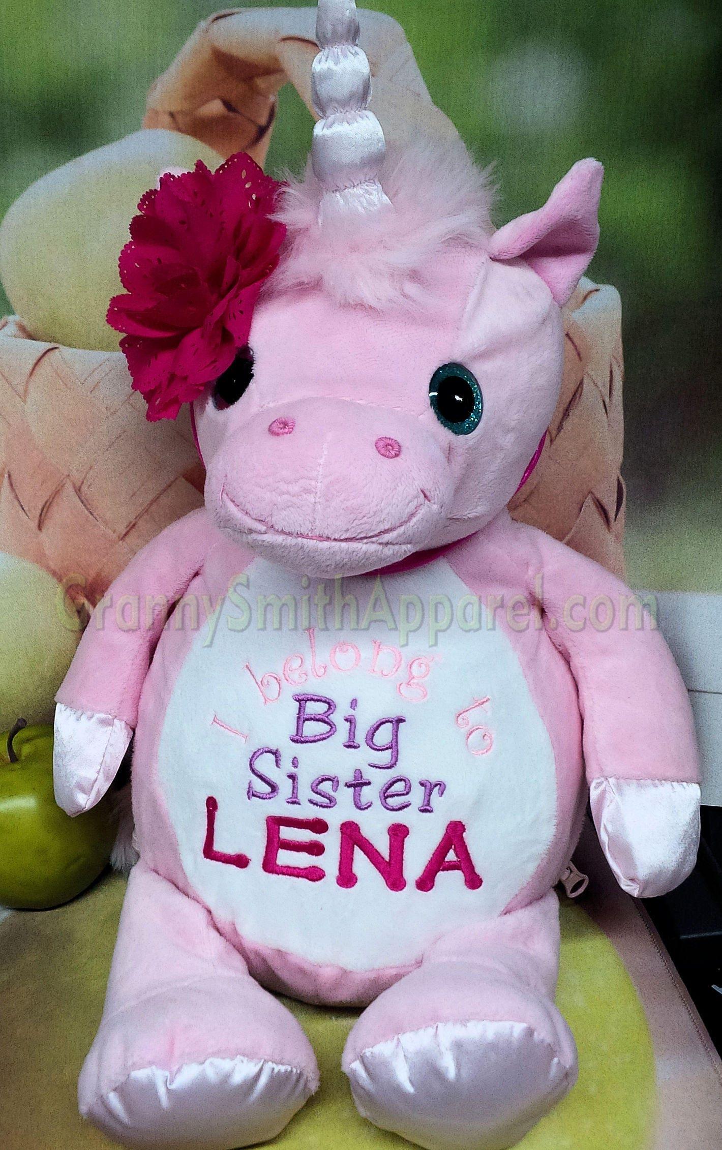 Unicorn pink pastel custom plush stuffie w glittery