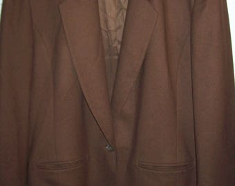 Blazer 16, Pendleton Rich Chocolate Brown Wool Blazer Jacket, Traditional Pendleton Preppy Wool Find. - see details