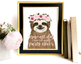 Nap All Day Sloth Art Print