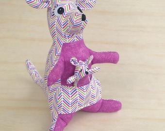 Handmade Kangaroo and Joey soft toy