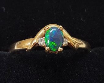 Vintage Black Opal and Diamond Ring
