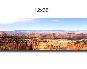 Panoramic wall art canvas wrap, extra large wall art, Utah brown orange red mountain canyon, canvas wall art, oversized art, over bed decor