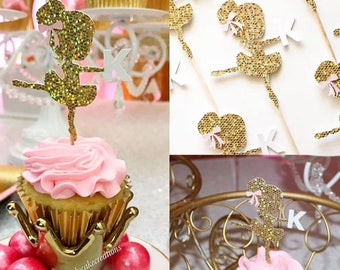 Ballerina with Initial Cupcake Toppers (12)