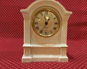 Lenox Porcelain Clock – Mantel Clock ~ Quartz ~ Cream Color with Gold Trim
