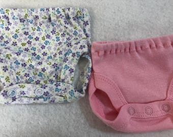 Baby Doll Diaper Covers, Panty, 15 inch AG Bitty Baby Clothes or Twin, Fits 16 inch Cabbage Patch Doll, SET of 2 for 3.00, FLOWERS & Pink