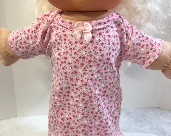 "Cabbage Patch 14 inch BABY or Smaller 14"" Doll Clothes, Adorable Pink with 'Tiny FLOWERS"" Nightgown, 14 inch Cabbage Patch Doll Clothes"