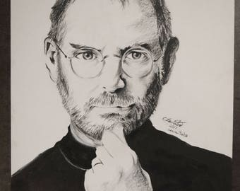 "Graphite Drawing of Steve Jobs, FREE SHIPPING, 14""x17"", People of Silicon Valley, Motivational People, Portrait art"