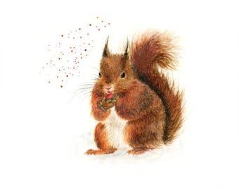 squirrel gift, squirrel print, squirrel art, woodland nursery, woodland animal, woodland print, squirrel decor, woodland squirrel, british