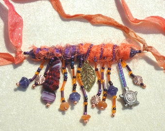 Gifts for her, Textile Necklaces, Pendant Necklace, Fiber jewelry, beaded jewelry, Boho, Hippie, Autumn, Fall