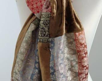 Vintage Tapestry Velvet Patchwork Scarf -Boho Unisex oblong Scarf - Reversible Multi Jewel Colors Kimono Woven Sash, Neck Wrap Scarf Shawl