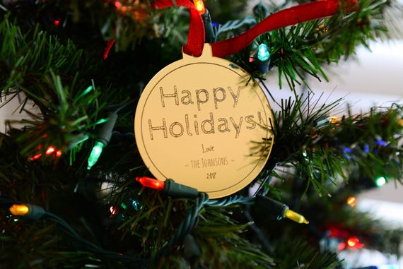 Personalized Mirror Ornament - Gold or Silver - Custom 3 Lines - Happy Holidays - Stocking Stuffer - Gift for Family, Employees, Clients
