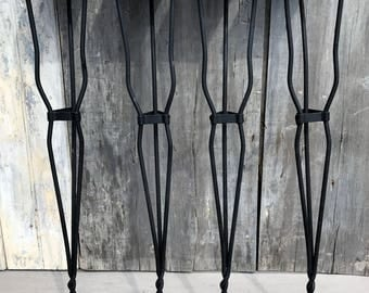 Vintage Ice Cream Parlor Soda Fountain Twisted Black Wrought Iron Table Legs 50s **FREE SHIP**