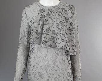 1980s Valentino Blouse Silver lace ruffle sheer shirt metallic silver gray top 42