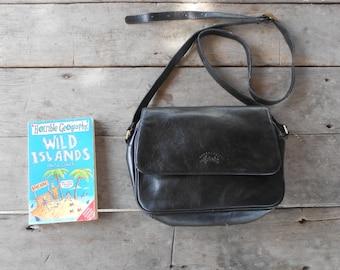 Vintage Leather Bag FRANCINEL Leather Messenger Bag / Black / Medium / Made in France