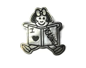 Vintage Sterling Librarian I Love Reading Brooch