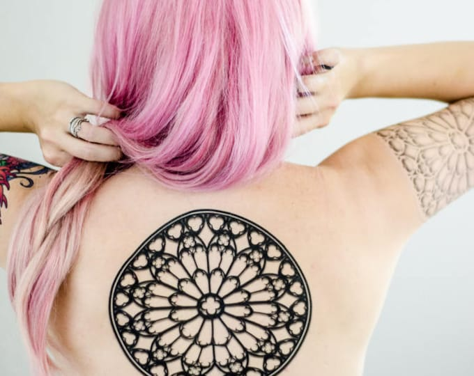 Featured listing image: Rose Window Black and White Tattoos
