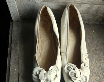 antique kid leather wedding shoes