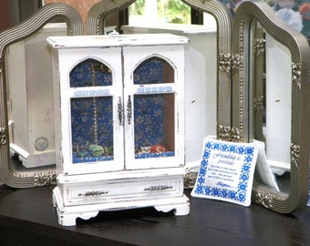 CoTTaGe ChiC *BLueBiRd* hand painted White Blue wood Jewelry box, etched glass doors 12 x 9 x 5 custom Liberty of London fabric interior