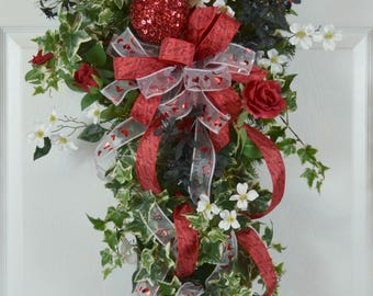 Valentineu0027s Day Swag   Valentineu0027s Day Wreath   Valentineu0027s Front Door  Wreath   Valentine Decorations
