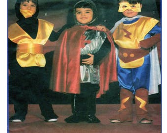 Butterick 5660, Child, Toddler, Halloween Costume, Sewing Pattern, Superhero, Knight, Ninja, Spaceman, Cape, Bodysuit, Child Size 2-3-4