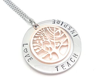 Personalised Jewellery, Personalised Necklace, Family Necklace, Hand Stamped Silver and Rose Gold Tree of Life Pendant with Gift Box