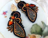 Earrings soutache, handmade from Italy, long, black, with pin, orange, bronze, craft cabochon, crystals, pendants