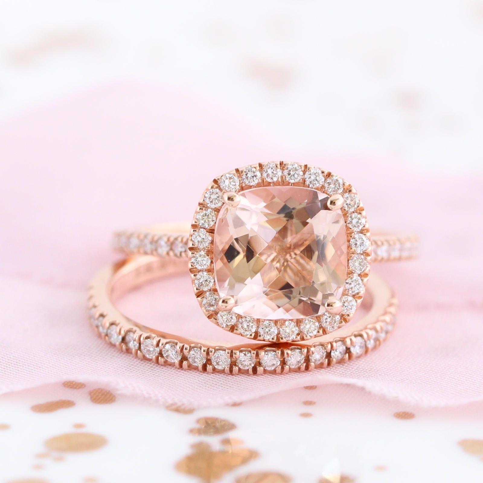 14k Rose Gold Wedding Set Morganite Engagement Ring and Half