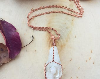 Large Wire Wrapped Raw Clear Quartz & Ethiopian Opal Healing Necklace ~ solid copper ~