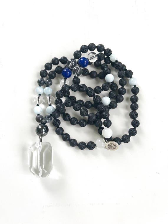 Mala For Grounding, Black Lava Mala Beads, Clear Quart Mala Necklace, Labradorite And Moonstone Mala, Chakra Healing Mala Beads