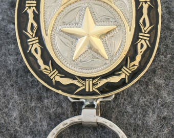 IN STOCK -  UNLESS personalized - custom handcrafted western key chain with star in center, smaller star above with Texas shape
