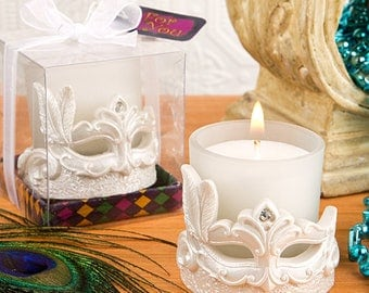 Mardi Gras Masked Theme Votive Candle - Wedding Bridal Shower Party Favor 20-72 Qty  FC5484