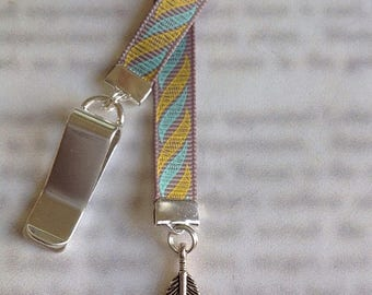 ON SALE Feather Bookmark / Spiritual Bookmark - Attach clip to book cover then mark the page with the ribbon and charm. Never lose your book