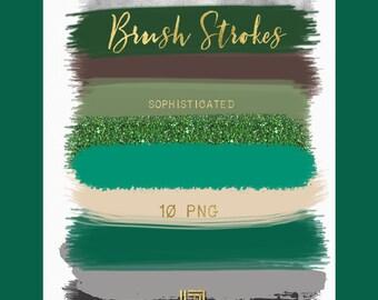 Brush Strokes Clip Art. Sophisticated. Green, emerald green, green glitter,grey, black palette. Watercolor clipart. Digital Design Resource.