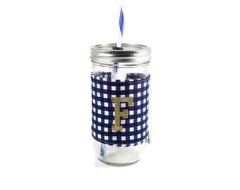 Navy and White Gingham Mason Jar Tumbler, Monogrammed Tumbler, Gingham Monogram Tumbler, Mason Jar Gingham Tumbler,Unique Gift,Personalized