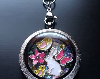 Easter Bunny Floating Locket Necklace-Great Gift Idea