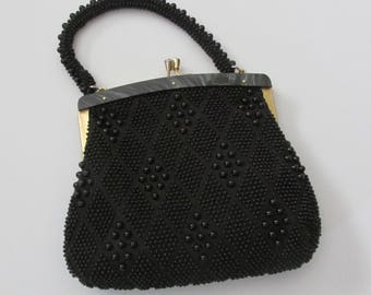 Vintage 1950's Black Beaded Handbag Made in Hong Kong with Lucite Frame