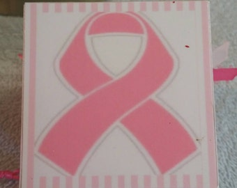 Breast Cancer Block, Photo Block, Memory Block, Ornament, Wood Block Ornament