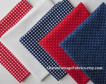SALE Retro Fat Quarter Bundle 5 Retro Gingham & Dots Red, White,  Blue Small 1/8-inch Gingham  Swiss Dots on Red, Admiral Blue 100% Cotton