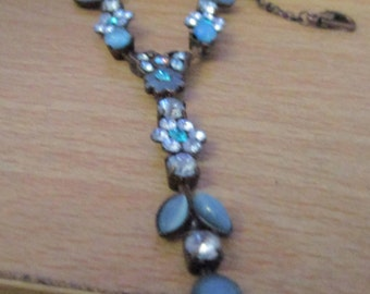 """vintage 15""""dark metal chain necklace extends 3"""" with  blue floral front with 2""""droplet  used condition"""