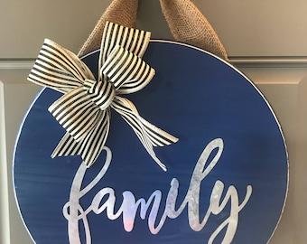 Family Door Hanger, Round Door Sign, Front Door Decor, Anniversary Gift, Wood Round Sign, Wood Door Wreath, All Year Door Hanger