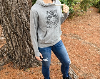Taz the Tiger - Grey French Terry - Unisex Slim Fit - Zoologist Gift, Zookeeper